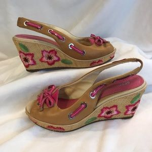 SPERRY Wedges Size 6.5M Pink Tan Leather Sandals
